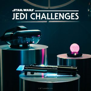 lenovo star wars jedi challenges includes ar headset, lightsaber, tracking beacon
